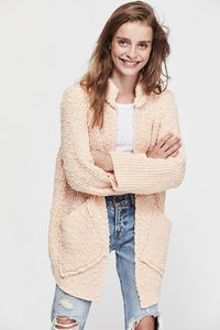 Waterfront Sweater Jacket- Peach