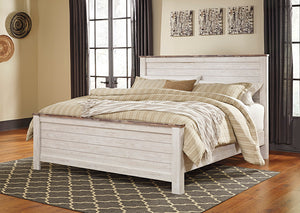 Willowton Whitewash California King Panel Bed - Jaimes Furniture