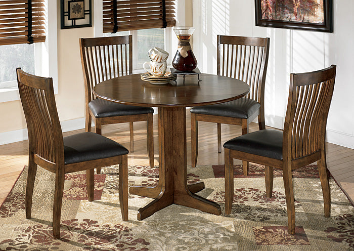 Stuman Round Drop Leaf Table w/4 Side Chairs - Jaimes Furniture