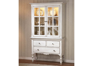 "Hollyhock 84"" Distressed White Oak Buffet & Hutch"