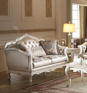 Chantelle Rose Gold PU Leather Pearl White Finish Loveseat - Jaimes Furniture