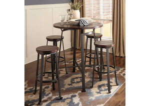 Challiman Rustic Brown Round Dining Room Bar Table w/4 Tall Stools - Jaimes Furniture