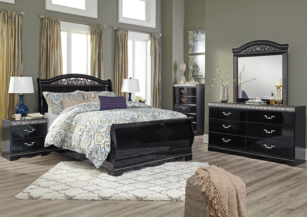 Constellations Black Queen Sleigh Bed - Jaimes Furniture