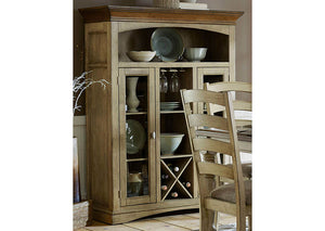"Nash 61"" Buttermilk/Burnished Oak Curio w/9 Shelves & Wine Rack"