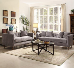 Sidonia 2Pcs Classic Gray Fabric Sofa & Loveseat