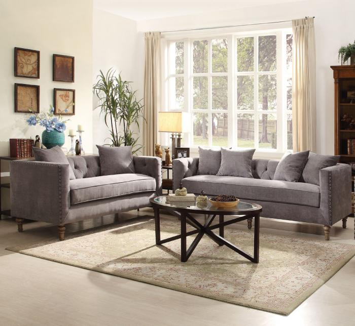 Sidonia 2Pcs Classic Gray Fabric Sofa & Loveseat - Jaimes Furniture