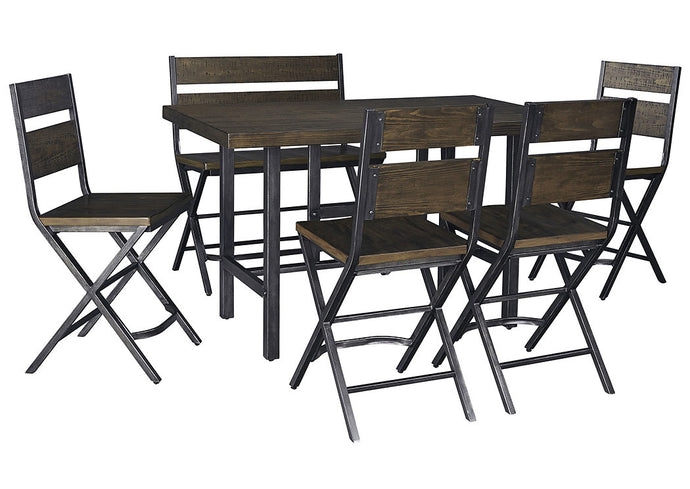Kavara Medium Brown Rectangular Dining Room Counter Table w/4 Side Chairs and Double Barstool - Jaimes Furniture