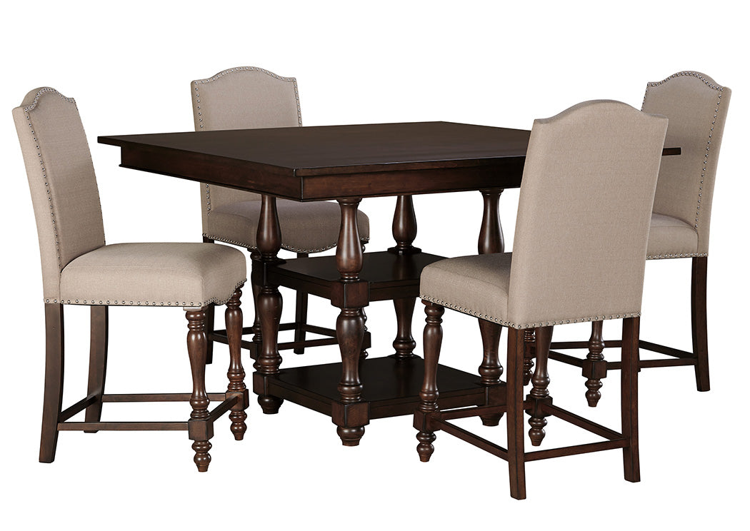 Baxenburg Brown Square Counter Height Table w/4 Upholstered Side Chairs - Jaimes Furniture