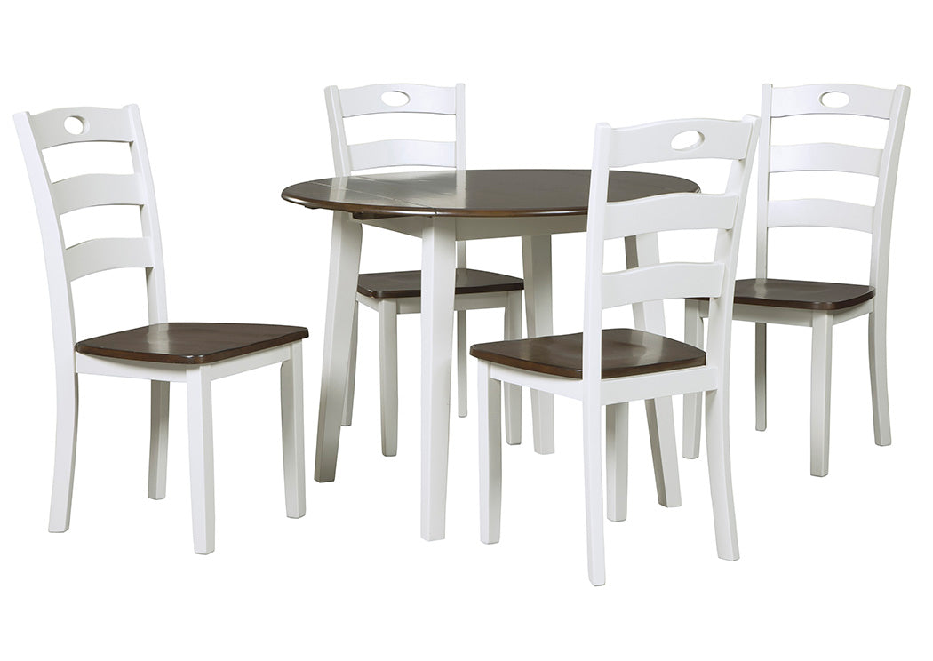 Woodanville White/Brown Round Dining Room Drop Leaf Table w/4 Side Chair - Jaimes Furniture