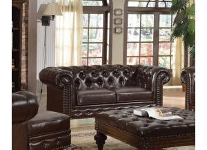 Shantoria Dark Brown Bonded Leather Wood Loveseat - Jaimes Furniture