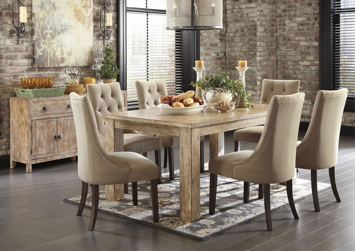Mestler Washed Brown Rectangular Dining Table w/6 Light Brown Upholstered Side Chairs
