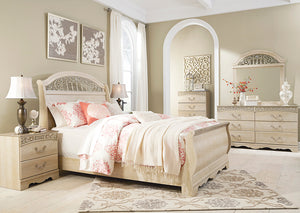 Catalina Antique White Queen Sleigh Bed - Jaimes Furniture