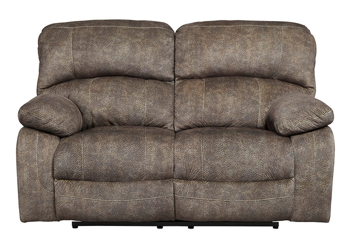 Cannelton Tri-Tone Gray Power Reclining Loveseat w/Adjustable Headrest - Jaimes Furniture