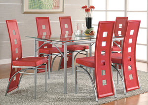 Table w/6 Red & Silver Dining Chairs - Jaimes Furniture