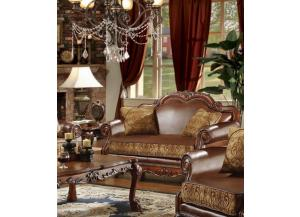 Dresden Brown Chenille/PU Leather Loveseat - Jaimes Furniture