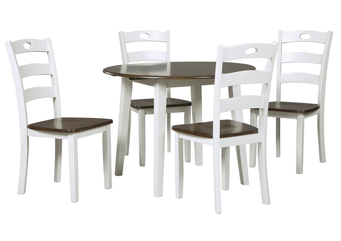 Woodanville White/Brown Round Dining Room Drop Leaf Table w/4 Side Chairs - Jaimes Furniture