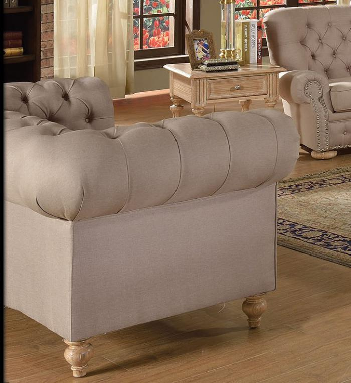 Shantoria Beige Linen Fabric Wood Loveseat - Jaimes Furniture