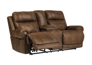 Austere Brown Double Reclining Loveseat w/Console