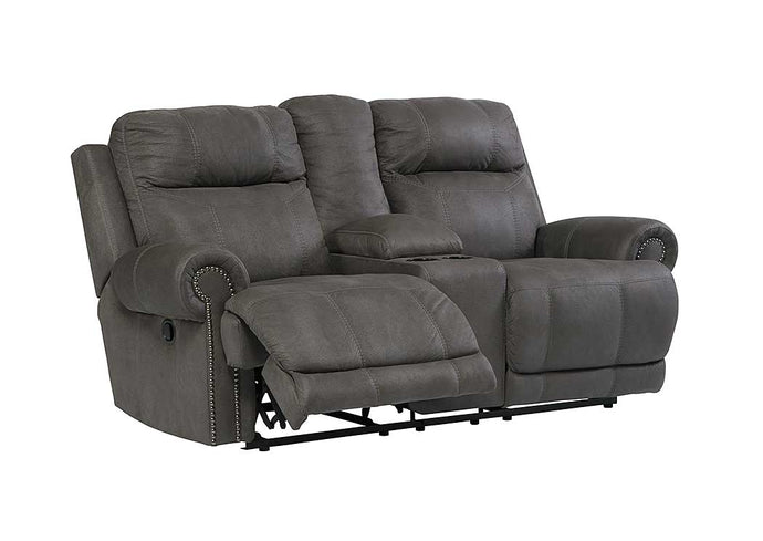 Austere Gray Double Reclining Power Loveseat w/Console - Jaimes Furniture