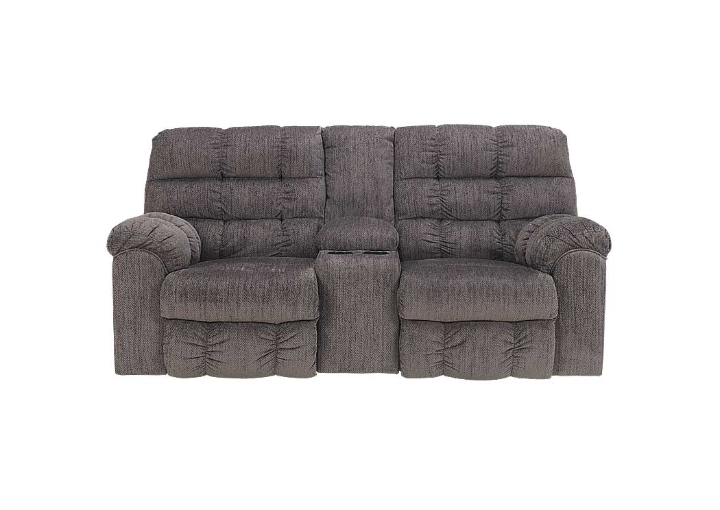 Acieona Slate Double Reclining Loveseat w/Console - Jaimes Furniture