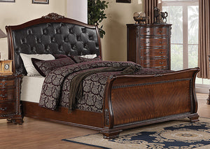 Maddison Black & Brown Cherry Queen Bed - Jaimes Furniture