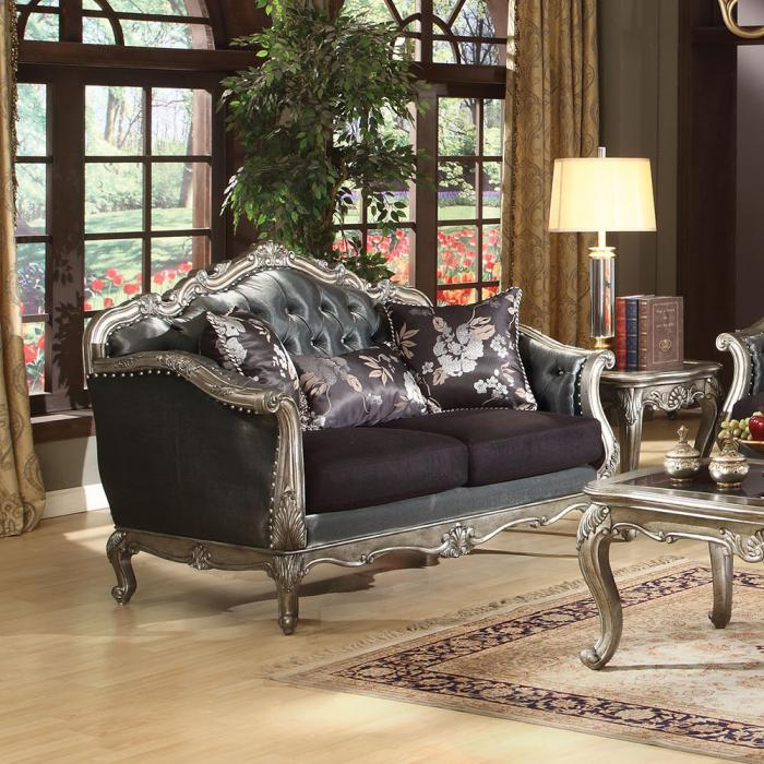 Chantelle Antique Platinum Loveseat with 3 Pillows - Jaimes Furniture