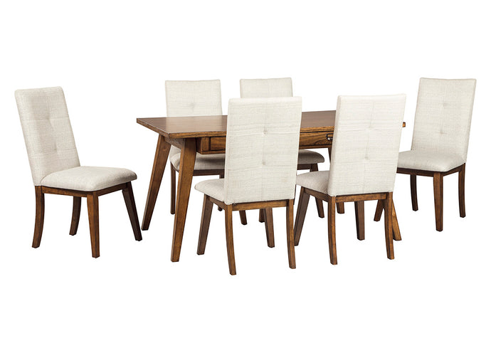 Centiar Two-Tone Brown Rectangular Dining Room Table w/6 Upholstered Side Chairs - Jaimes Furniture