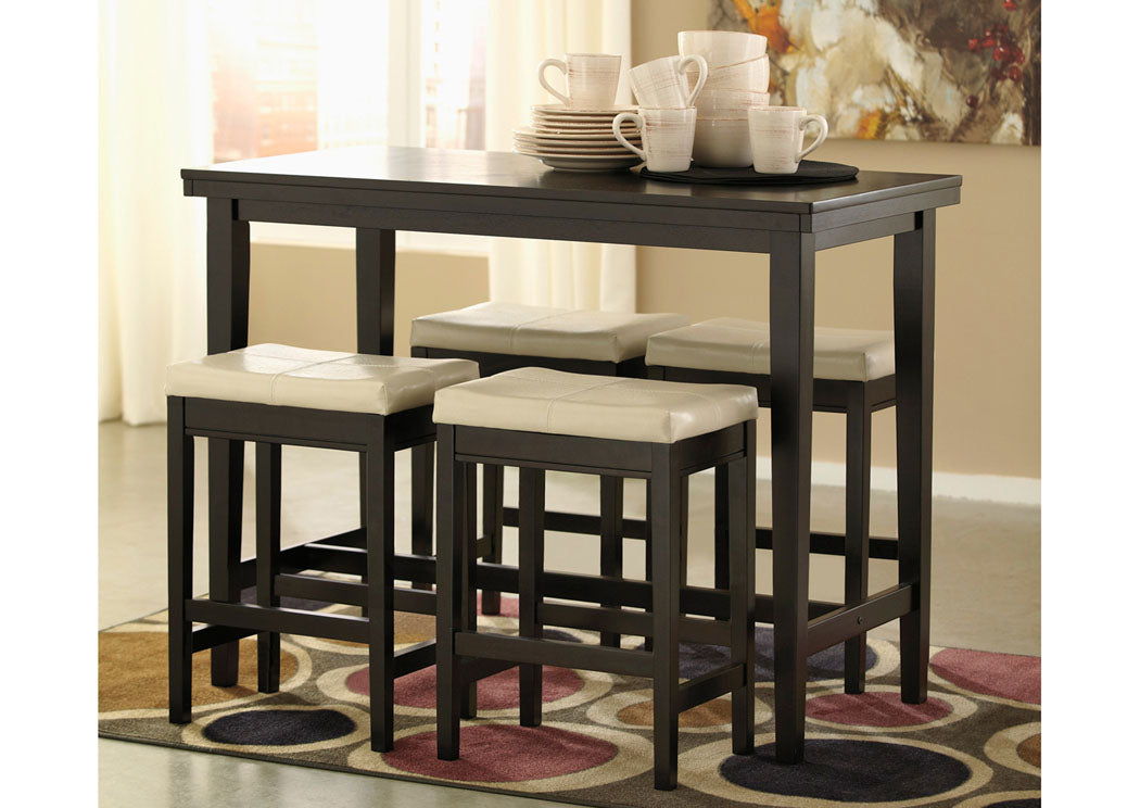 Kimonte Rectangular Counter Height Table w/4 Ivory Barstools - Jaimes Furniture
