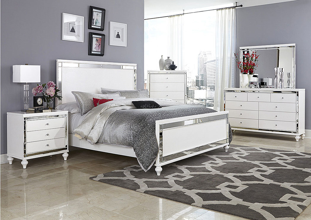 Alonza Bright White Queen Panel Bed - Jaimes Furniture