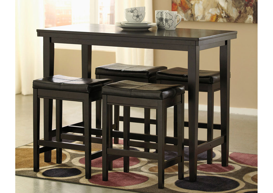 Kimonte Rectangular Counter Height Table w/4 Dark Brown Barstools - Jaimes Furniture