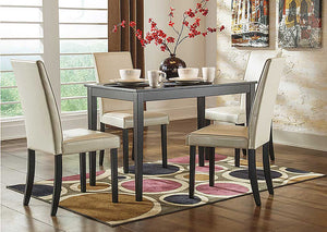 Kimonte Rectangular Dining Table w/4 Ivory Chairs - Jaimes Furniture