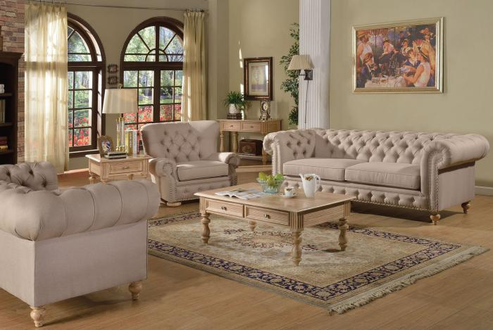 Shantoria 3Pcs Beige Linen Fabric Wood Sofa Set 1 Sofa, 1 Loveseat and 1 Chair - Jaimes Furniture