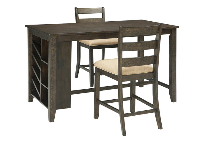 Rokane Brown Rectangular Counter Table w/Storage & 2 Upholstered Barstools