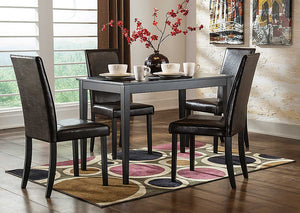 Kimonte Rectangular Dining Table w/4 Dark Brown Chairs - Jaimes Furniture