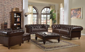 Shantoria 3Pcs Dark Brown Bonded Leather Wood Sofa Set 1 Sofa, 1 Loveseat and 1 Chair - Jaimes Furniture