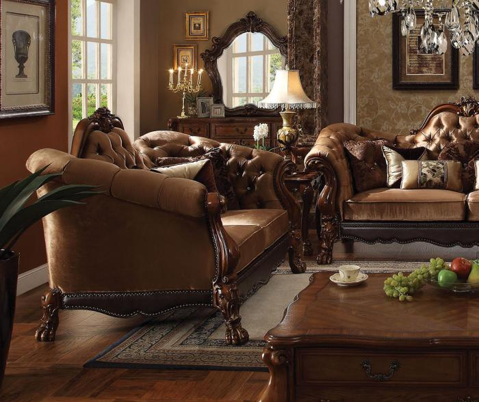 Dresden Golden Brown Velvet Cherry Oak Loveseat - Jaimes Furniture
