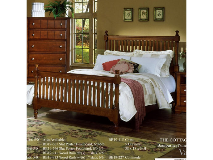 Cottage King Slat Poster Bed by Vaughan Bassett