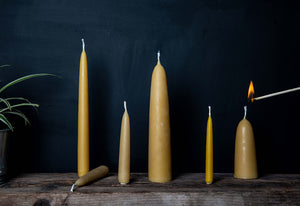 stubby tapered natural beeswax candles
