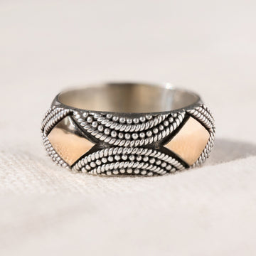 Agra - Large Statement Ring in Silver and 18k Gold