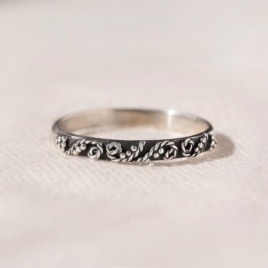 UNUSUAL STERLING SILVER SKINNY STACKING RING - ELLA
