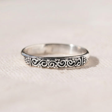 HANDMADE STERLING SILVER THIN STACKING RING - UBUD