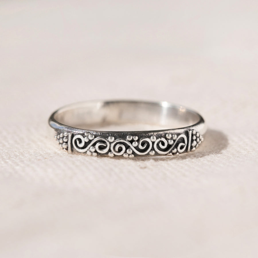 Ubud - HANDMADE STERLING SILVER THIN STACKING RING