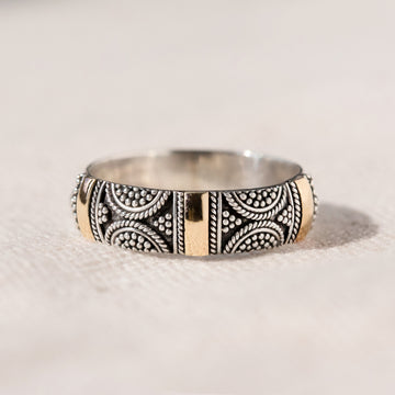 DELICATE STERLING SILVER BAND WITH 18K GOLD - BRIGHTON