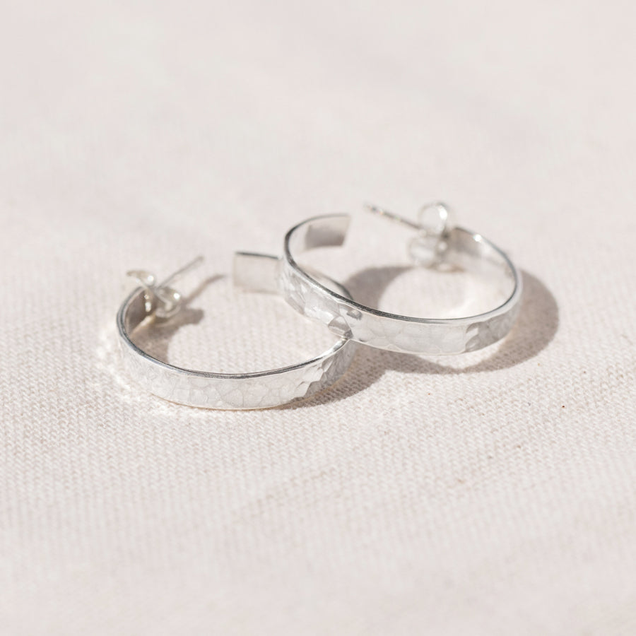 Agonda - Large Hammered Silver Hoops