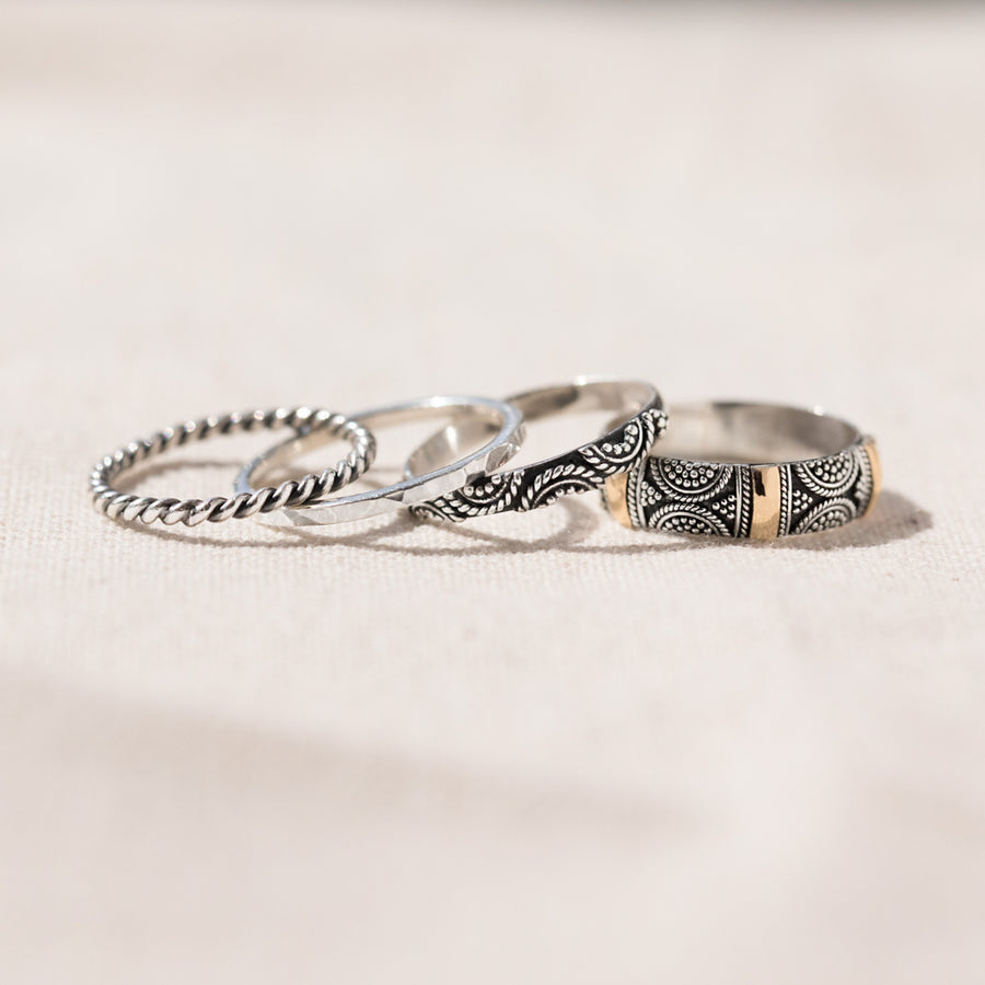 Brighton - Unique Stackable Ring Set of 4