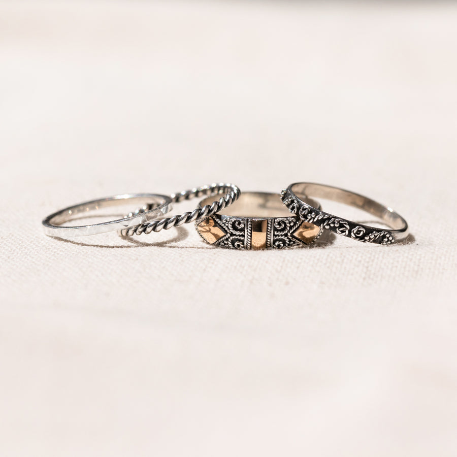 Ella - Unusual Sterling Silver Skinny Stacking Ring