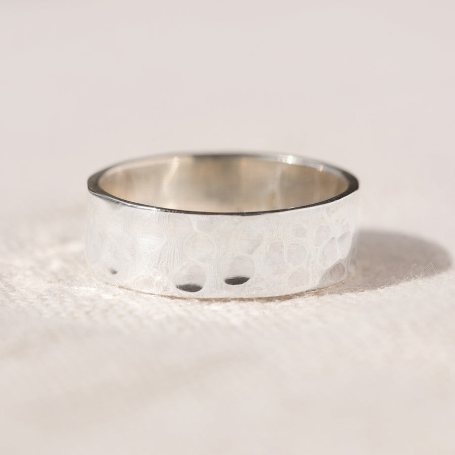 HANDMADE CHUNKY SILVER HAMMERED STACKING RING - AGONDA