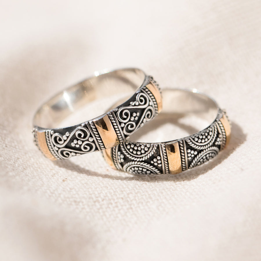 2 Sentimental Couples Rings, Sterling Silver and 18k Gold - Brighton, Sydney, Ella or Ubud