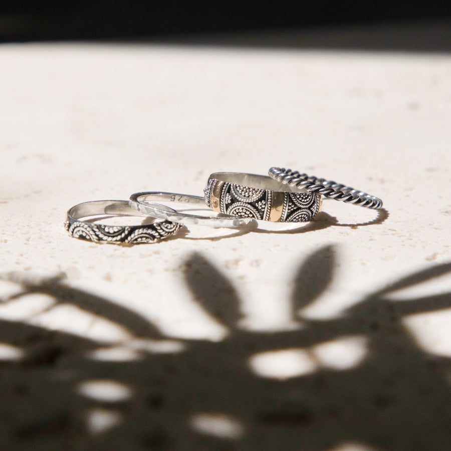 MIXED METAL STACKING RINGS SET GILDED WITH 18K GOLD - BRIGHTON