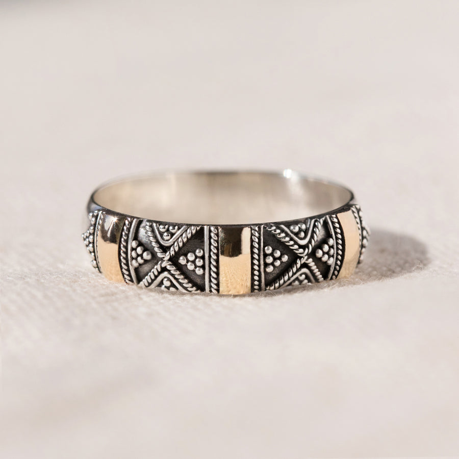 Sydney - Unusual Silver and 18K gold Bali Ring